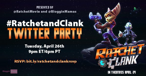 The Ratchet and Clank Movie opens on 4/29 and we are ready to celebrate with a #RatchetandClank Twitter Party tonight at 9pm EST! RSVP to win prizes!