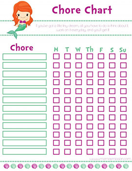 Little Mermaid Girl Chore Chart