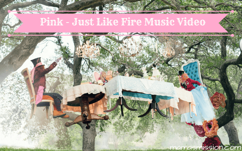 Pink just released the brand new Just Like Fire music video. The original song was written and recorded for Disney's Alice Through The Looking Glass. #ThroughTheLookingGlassEvent