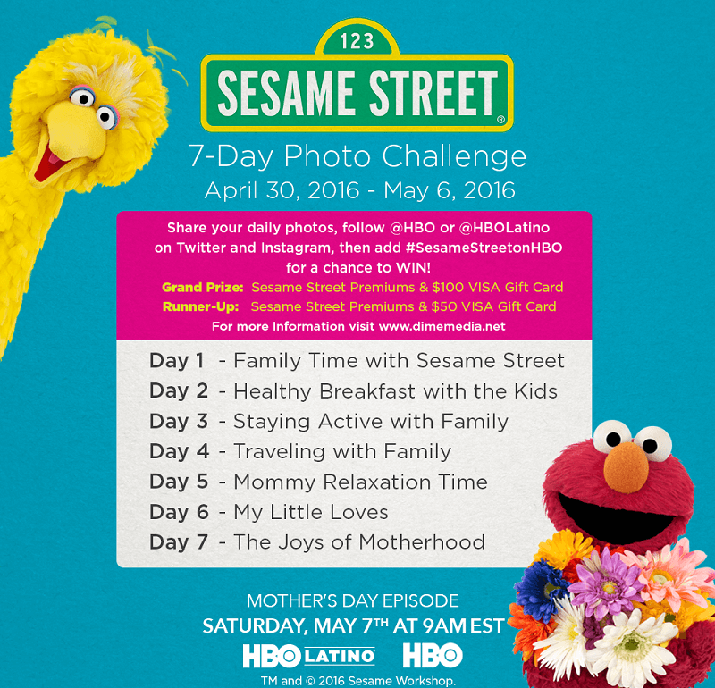 Come join the Sesame Street on HBO Mother's Day Photo Challenge! You still have 3 days to post daily themed photos for a chance to win fabulous prizes!!!!