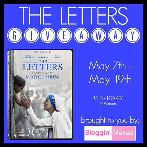 Enter to win The Letters DVD giveaway, the movie about the untold story of Mother Teresa. 8 lucky winners will be selected to win a DVD valued at $14.99.