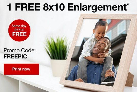 CVS is celebrating Father's Day by giving away an 8x10 free photo enlargement today through Saturday. Add a frame from the dollar store for a low cost gift!