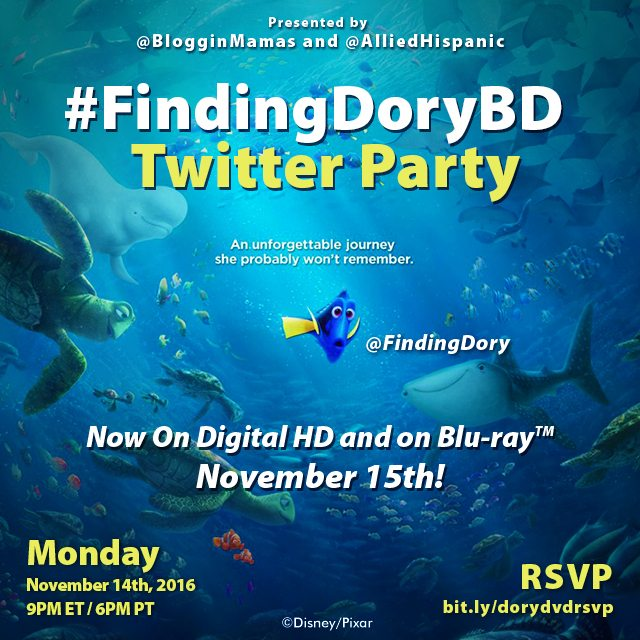 Everyone is excited to see their favorite forgetful fish Dory. Celebrate at the Finding Dory Twitter Party 11/14 at 9pm EST! RSVP to win! #FindingDory
