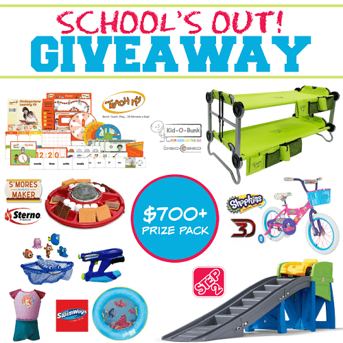 School's out and it's time to celebrate. Join the School's Out Summer Fun Giveaway for a chance to win a prize pack valued at $700!