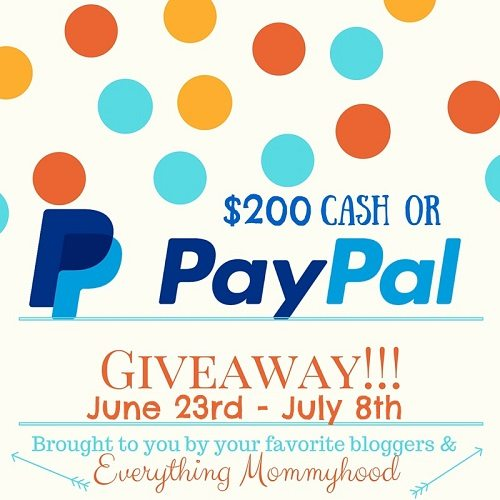 Summer is here and we are ready to celebrate with a huge $200 PayPal Cash giveaway. Enter for your chance to win $200 cash from your favorite bloggers.