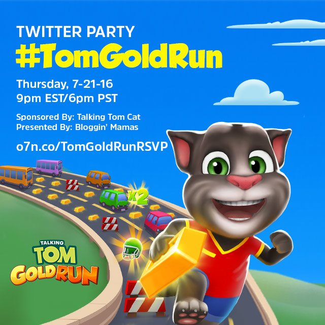 Talking Tom recently released their newest app, Gold Run. Let's celebrate with a Twitter Party & awesome prizes, 7/21/16 at 9pm E - RSVP to win an iPad Air!