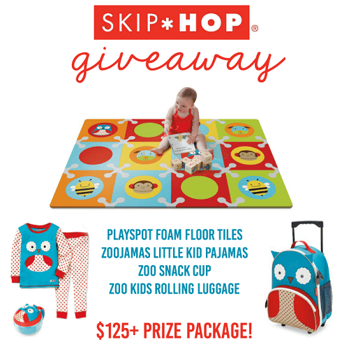 The ultimate Skip Hop prize pack giveaway for all Skip Hop fans! Prizes include floor tiles, pajamas, snack cup and rolling luggage. Enter to win!