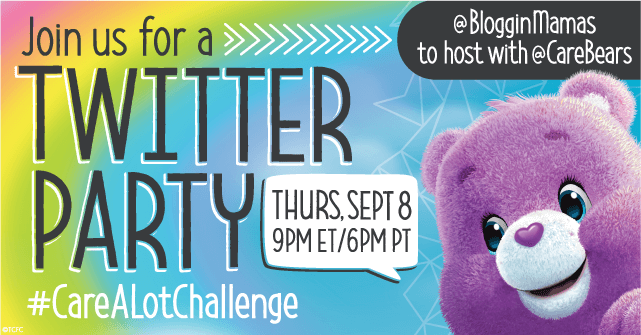 Join the Care Bears as we celebrate the #CareALotChallenge in honor of Share Your Care Day at the Care A Lot Challenge Twitter Party on 9/8 at 9pm EST!