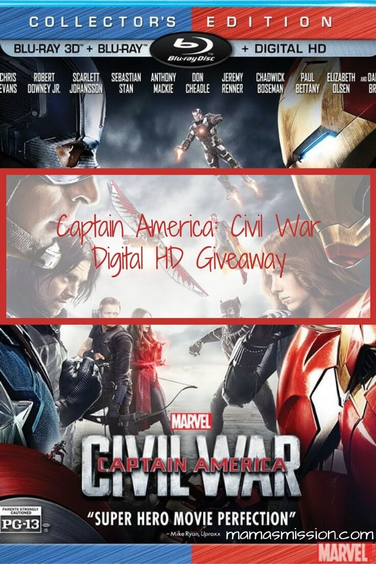 Captain America Civil War is now available on Digital HD and releases on 9/13 on Blu-ray. Enter to win a copy of Captain America Civil War Digital HD!