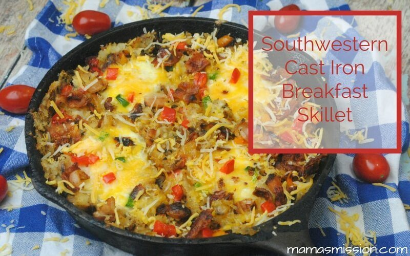 I love the combination of eggs, bacon, cheese and hashbrowns! This easy to make Southwestern Cast Iron Breakfast Skillet will have your mouth watering.