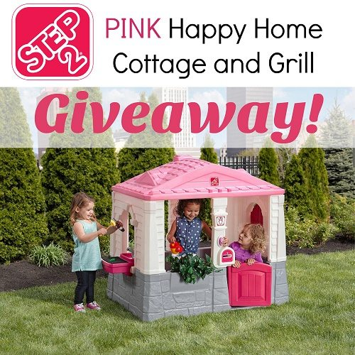 How cute is this new Pink Happy Home Cottage and Grill from Step2? Enter to win one to bring home for your little ones to play with!