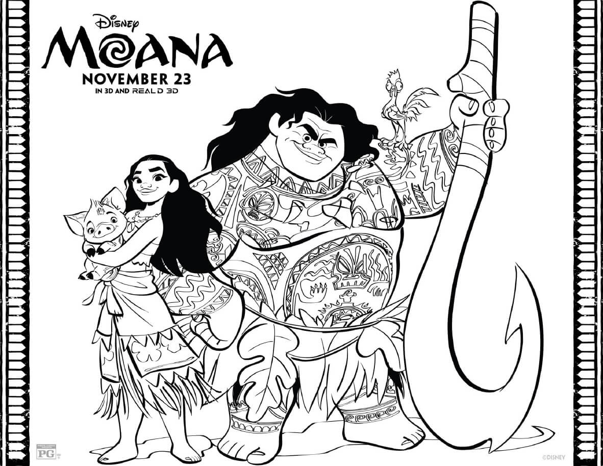 moana pages to color - moana coloring pages free printables from disney