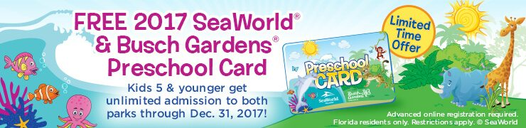 Get free admission for your kids ages 5 and under all of 2017 with the Busch Gardens and SeaWorld Preschool Card. Valid for Tampa Bay and Orlando locations.