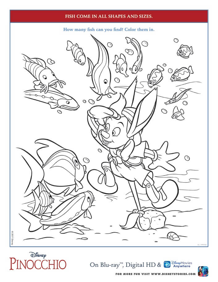 Pinocchio Coloring Pages and Activity Sheets - Free Printables