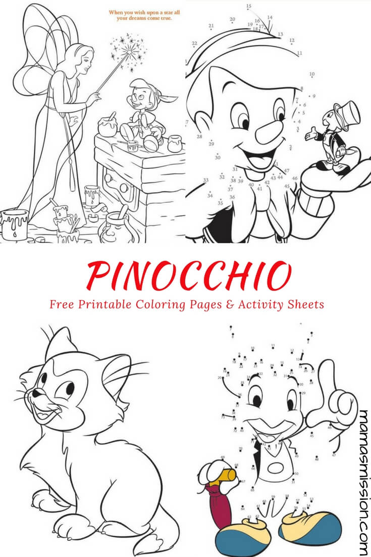 Pinocchio coloring pages and activity sheets free printables for Activity coloring pages