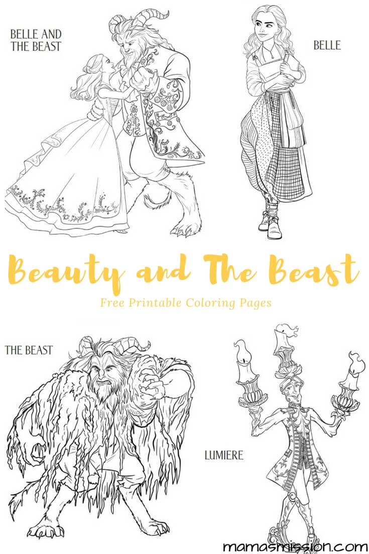 Beauty and the Beast Coloring Pages - Free Printables