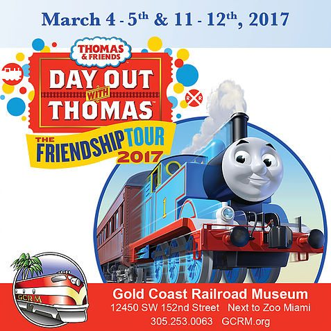 All Aboard! Join Thomas & Friends for Day Out with Thomas Friendship Tour in Miami for two weekends March 4 - 5 & March 11 - 12 for a fun family day outing.