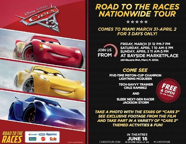 Come see all of your favorite Cars at the Cars 3 Nationwide Tour Miami Pit Stop! This fun free family event rolls into town on March 31st to April 2nd.