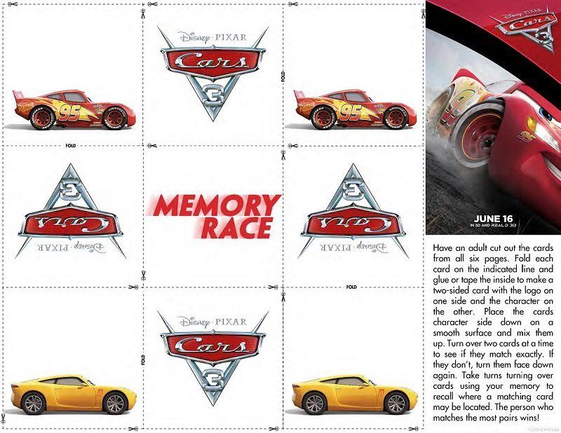 Download these free printable Cars 3 activity sheets and get ready for some racing fun with all your favorite Cars Lightning McQueen and friends.
