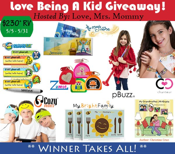 Got a little one in the house? You will appreciate all these amazing items that every mom needs to make life easier in the Love Being A Kid Giveaway!