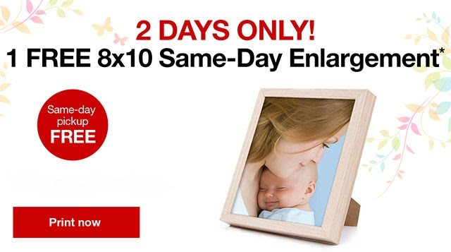 CVS is celebrating Mother's Day by giving away an 8x10 free photo enlargement for 2 days only. Add a frame from the dollar store for a low cost gift!