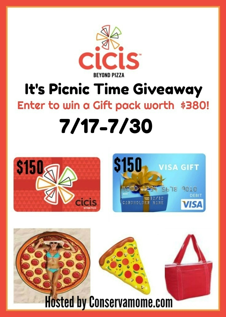 Cicis is celebrating National Picnic Month with a special giveaway! Enter to win a $150 Cicis Pizza Gift Card and a $150 Visa Gift Card, plus so much more!