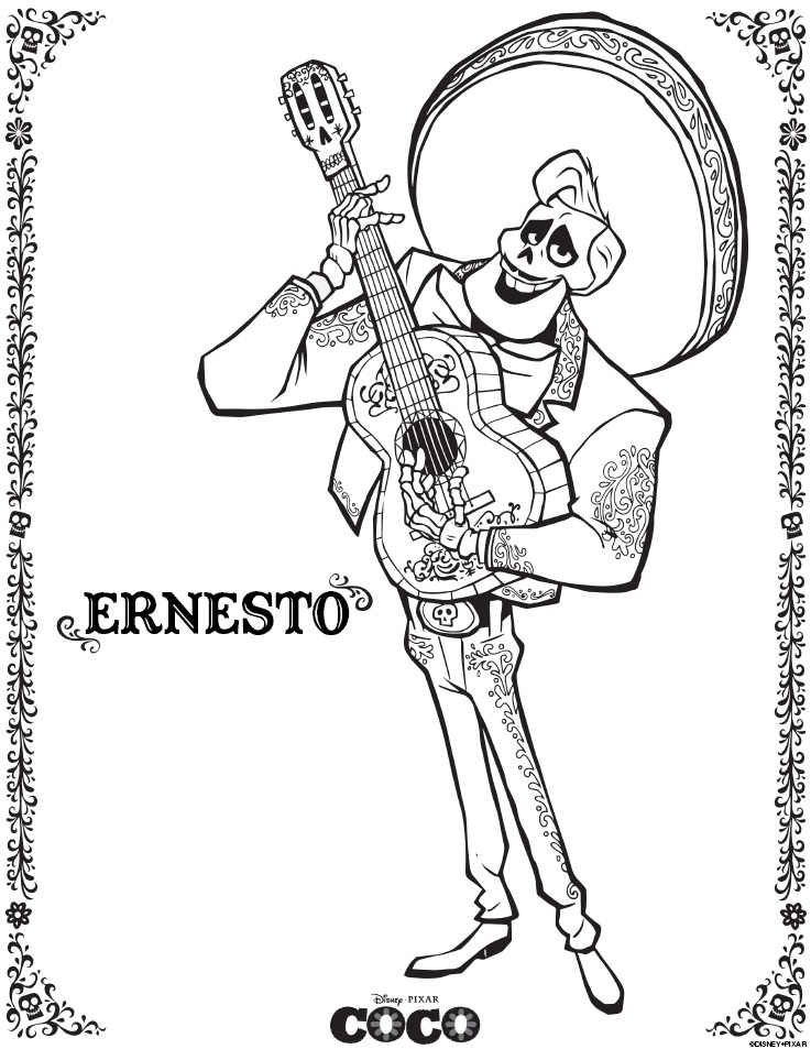 Celebrate Dia De Los Muertos with Disney Pixar COCO coloring pages and activity sheets. Download these free printables of Miguel, Ernesto, Hector and Dante!
