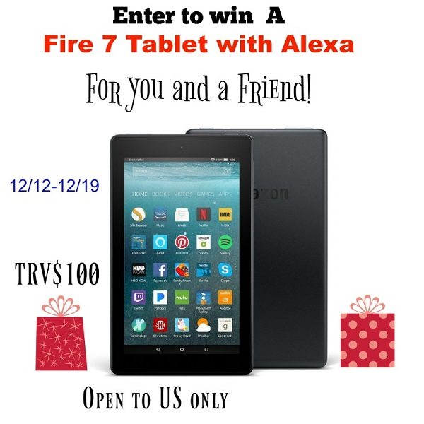 What better way to get into the holiday giving season than by entering to win an Amazon Fire 7 Tablet with Alexa for you and a friend!