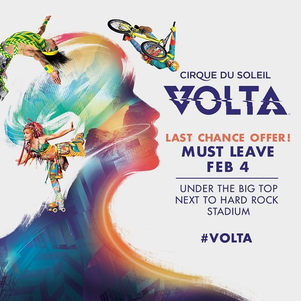 Cirque du Soleil VOLTA is coming to Miami! Get discounted tickets for Cirque du Soleil VOLTA at 40% off during this special promotion thru 2/4!