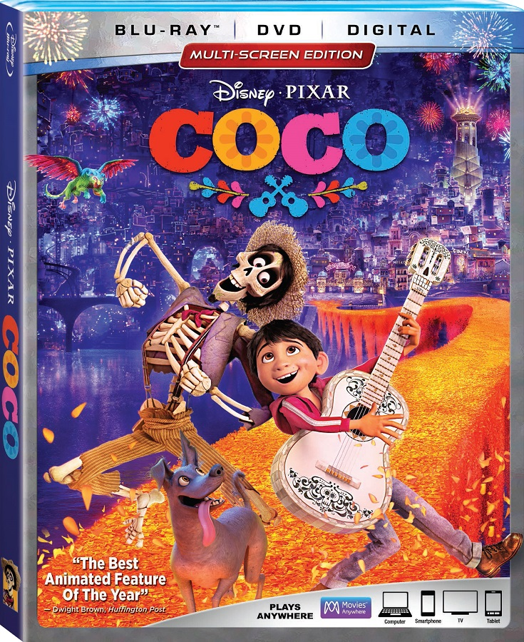 Bring home Coco now available on Blu-ray for your next family movie night! Golden Globe winner and Academy Award Nominee, Coco teaches children about family, traditions, following their dreams and never forgetting their ancestors.