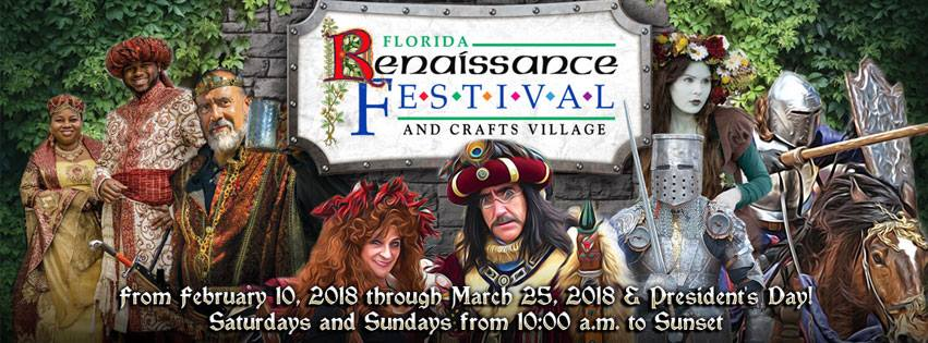 The 2018 Florida Renaissance Festival is back for it's 26th year. Medieval since the 16th Century, be prepared to be delighted and amused with new themed weekends, performers, activities, and more!