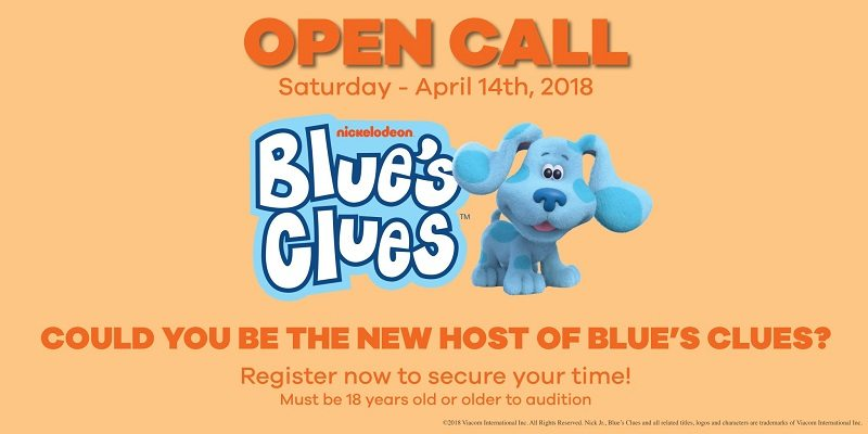 Nickelodeon is reviving everyone's favorite kid's programming, Blue's Clues! Nickelodeon Casting is holding an open call in search of a new host for Blue's Clues on Saturday, April 14, 2018 in Burbank, CA. Do you think you have what it takes? Audition To Become The New Blue's Clues Host!