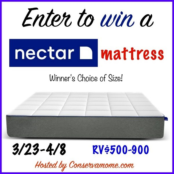 Going to sleep never sounded better! Buying a new mattress can be a drag. With the Nectar Mattress shopping is easier. Purchase online and try it out for 365 days! Enter to win the Nectar Mattress Giveaway for a peaceful nights sleep tonight.