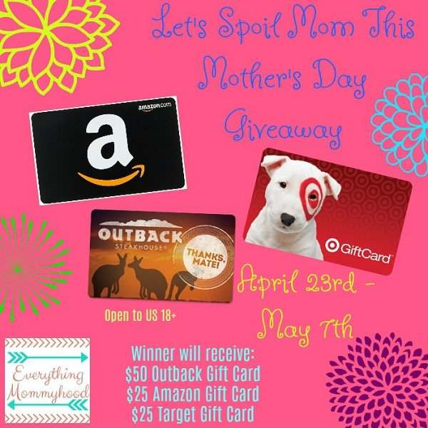 Mother's Day is just around the corner and it's time to spoil the Mama in your life. I'd love to be able to honor all the Mama's in your life, including yourself. Tell me how you'll be spoiling a Mama in your life (or yourself) this Mother's Day and be sure to enter the $100 Mother's Day Gift Card giveaway!