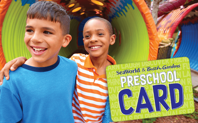 Get free admission for your kids ages 5 and under all of 2018 with the 2018 Busch Gardens Preschool Card. Valid for the Tampa Bay Busch Gardens and Orlando SeaWorld locations throughout 2018.