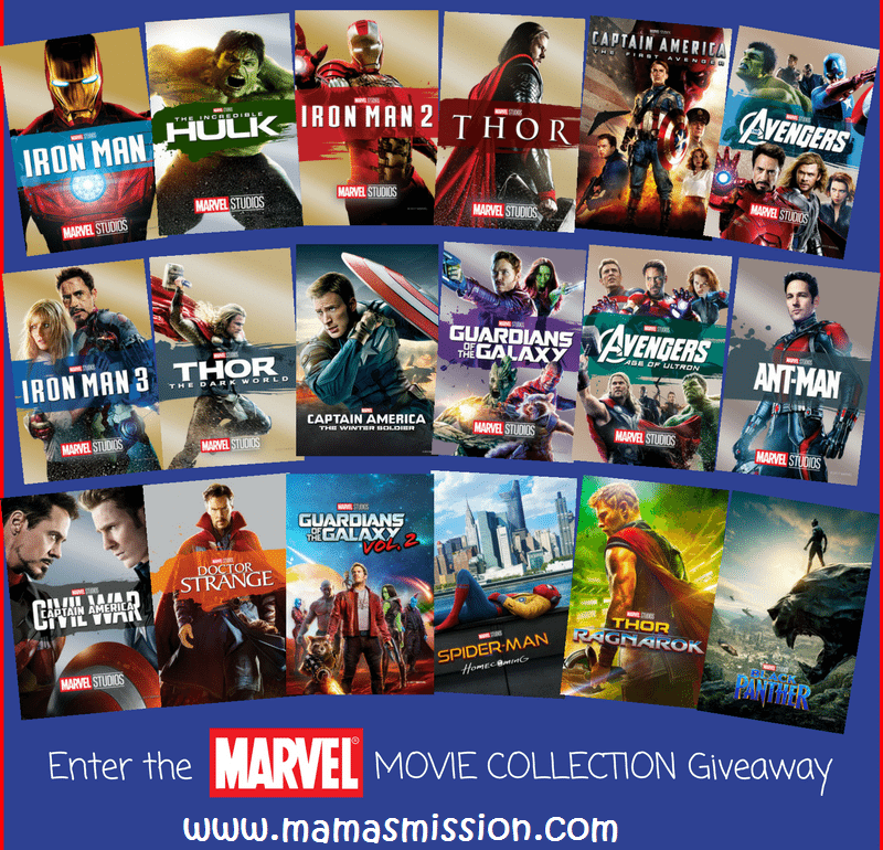 Enter the ultimate Marvel Movie Collection Giveaway for a chance to win a digital copy of ALL 18 Marvel Cinematic Universe movies - including Black Panther - to celebrate AVENGERS : INFINITY WAR!