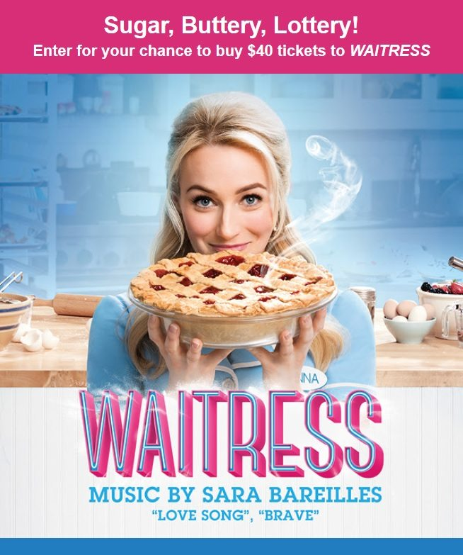 Waitress the Musical is coming to South Florida and you won't want to miss your chance to see this most talked about musical in years for just $40. Enter the Waitress ticket lottery for your chance to win discounted Orchestra seats through the Waitress online ticket lottery!