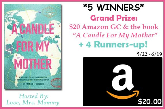 "Love reading? I'd like to introduce you to a new author, Pamela Newton. Learn more about ""A Candle For My Mother"" and enter to win the $20 Amazon Gift Card giveaway along with a copy of A Candle For My Mother!"