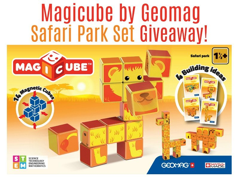 Say goodbye to toppled over block structures with the Geomag Magicube Safari Park Set! These colorful magnetic blocks feature four fun safari animals for hours of building and learning. Enter to win the Geomag Magicube Safari Park Set for your little one!