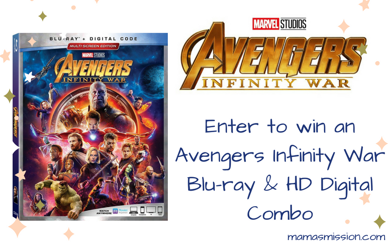 Enter to win the Marvel Avengers Infinity War Blu-ray giveaway! Marvel Studios Avengers Infinity War is available on HD Digital 7/31 and Blu-ray 8/14.