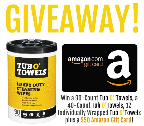 Enter to win a $50 Amazon Gift Card and a Tub O' Towels Prize Pack which includes 90-count, 40-count, and 12 single on-the-go packs of Tub O' Towels!