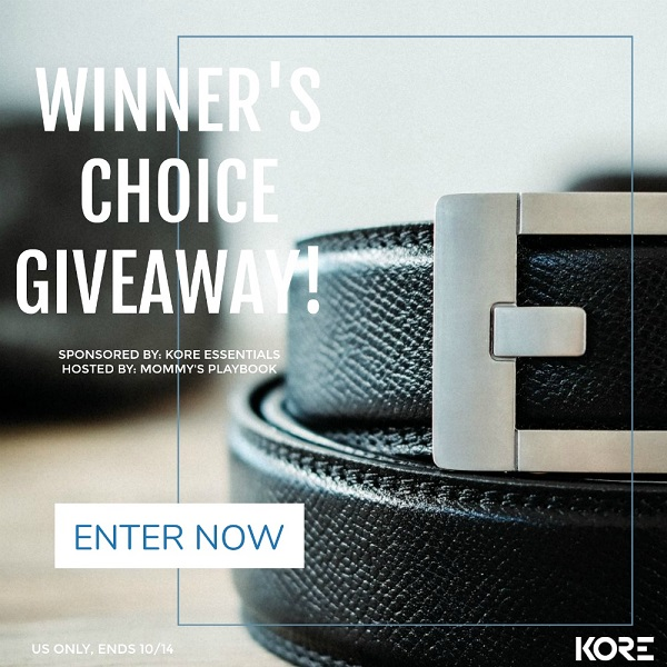 Every time my husband loses or gains so weight he needs a new belt. Kind of annoying and wasteful. Enter the last belt you'll ever need to purchase because one size fits all! Learn more about the Kore Essentials belts, the most advanced belt ever which you size to fit you. Enter to win a Kore Essentials Belt & Buckle of your choice.
