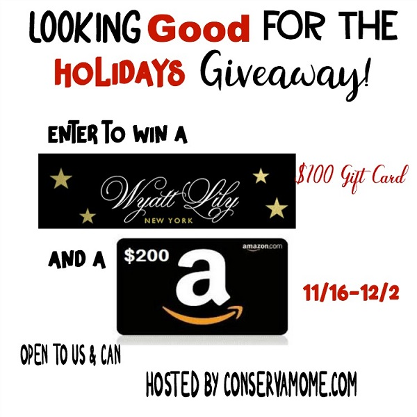 Enjoy a shopping spree for you and them! Enter to win the $100 Wyatt Lily and $200 Amazon Gift Card giveaway for a holiday shopping spree for the family.