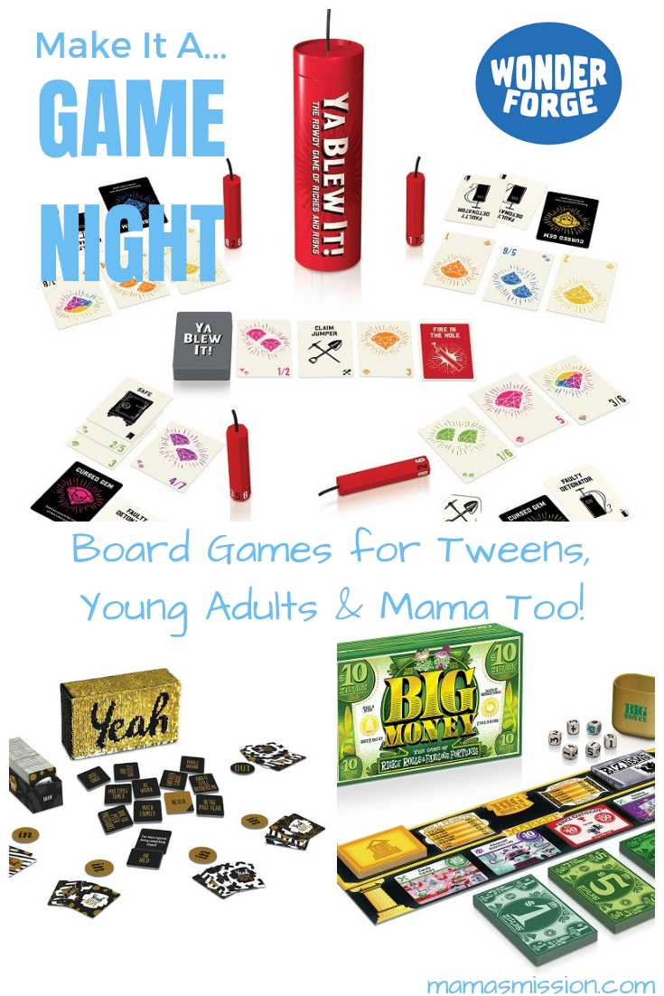 What is one thing that your family does weekly, together? It's time to start a game night with these fun board games for tweens, young adults and Mama too!