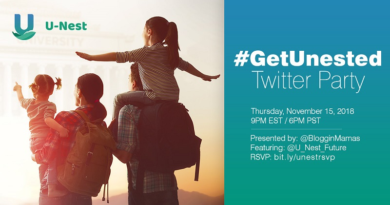 Join the #GetUnested Twitter Party to learn about the U-Nest savings program for a debt-free college education on 11/15 at 9pm EST. Must RSVP to win prizes!