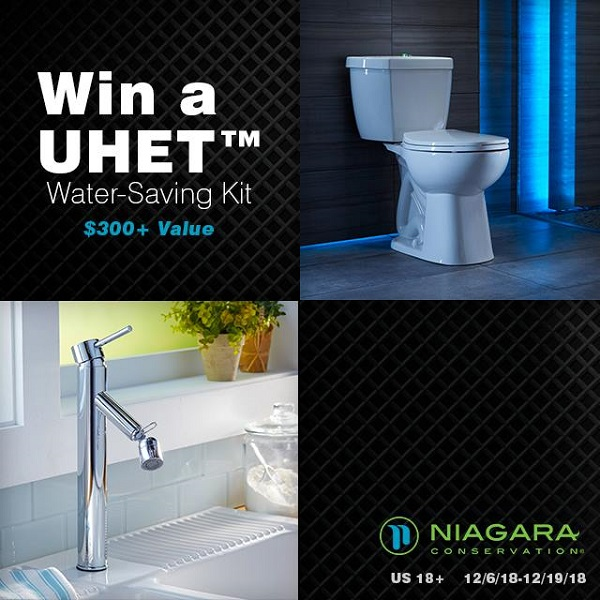 Tired of flushing your hard earned money down the toilet bowl? Enter to win the Niagara Phantom Toilet and UHET Water Saving Kit Giveaway!