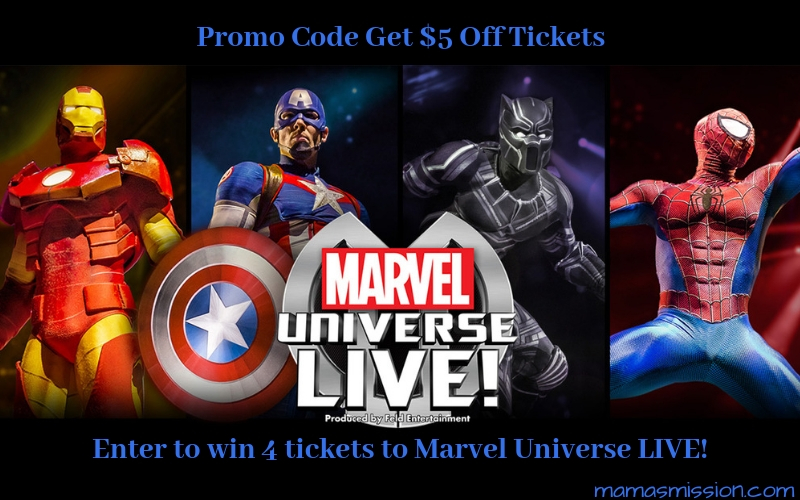 Save $5 off tickets to with the Marvel Universe Live Promo Code and enter to win 4 tickets to see all your favorite heroes and villians with your family!