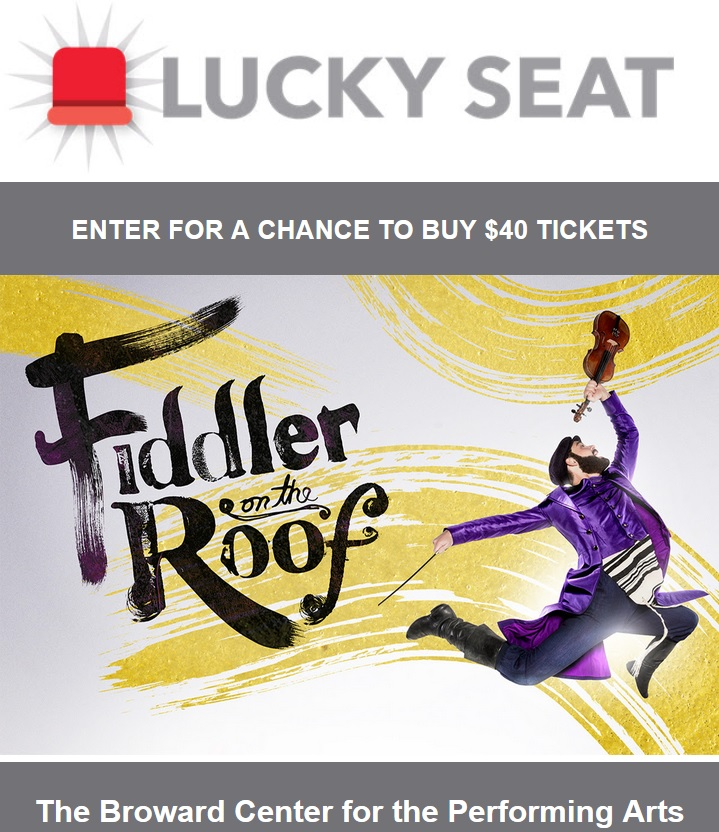 Enter the Fiddler on the Roof ticket lottery for your chance to score seats for $40 to see the show at the Broward Center from Feb. 20th to March 3rd!