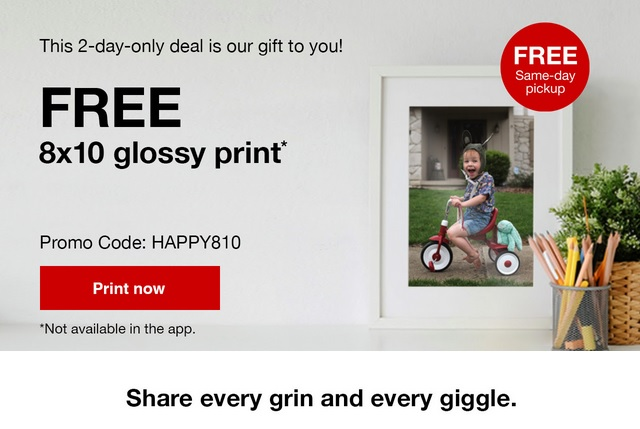 Get a free 8x10 glossy print or photo collage from CVS to display your holiday memories! This 2 day deal won't last, so order your free 8x10 print today.