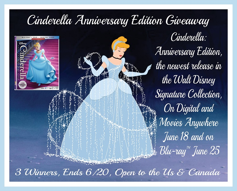 In honor of its upcoming 70th anniversary, enter to win one of three copies of Cinderella Anniversary Edition Blu-ray in this magical giveaway!